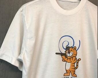 M/L * Thin vintage 80s 1988 Seoul Olympics t shirt * South Korea