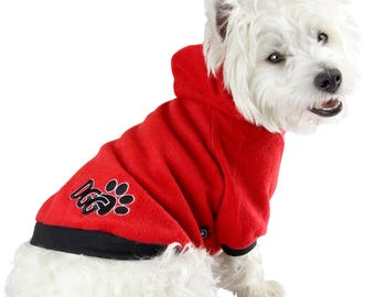 Dog Polar Fleece Hoodie Red Design