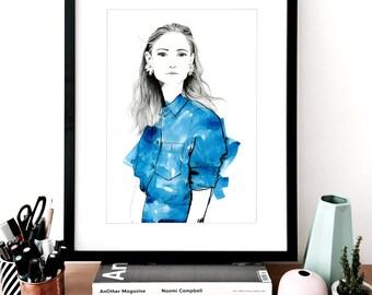 Jenny #1 Fashion A3 Illustration Print, Fashion Sketch, Fashion Drawing, Fashion Art, Fashion Poster, Fashion Wall Art, Fashion Watercolour