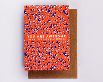 You Are Awesome Card, Fashion Stationery, Fashion Card, Valentines Day, Love Card, Romance Card, Valentine, Romantic, Terrazzo