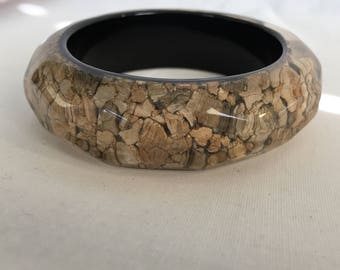 Wood Chips Resin Bangle Bracelet, Vintage, 1990s