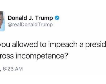"Trump ""gross incompetency"" tweet bumper sticker"