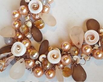 Seashore crocheted wire necklace