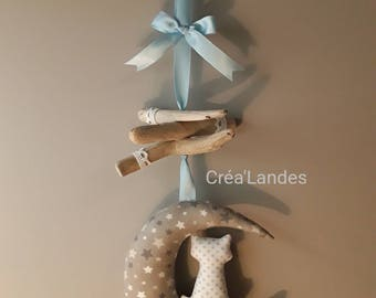 Moon and cat decoration Driftwood mobile nursery baby