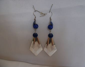 Earrings Royal Blue and silver, encrusted with crystals and silver plated beads.