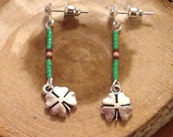 Drop earring, Miyuki beads and clover charm. Good luck. GREEN