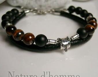 Bracelet leather, matte onyx, Tiger eye and Silver Fox Ref: BN-051