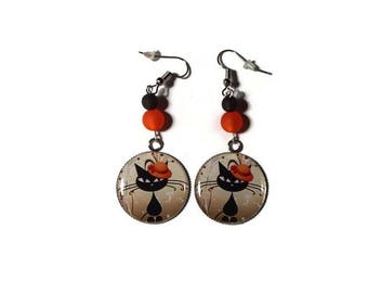 Earrings dangle cabochon cat/gift