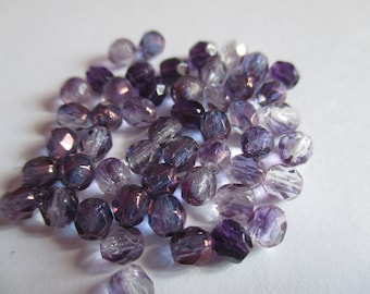 25 purple tones Czech glass beads