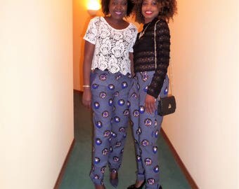 Cigarette pants in wax (Ankara)
