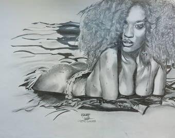 Portrait. Sensual black woman
