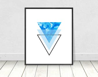 Geometric triangles, PRINTABLE art, Blue Abstract, Nordic Print, Scandinavian Wall Art, Scandi Minimalist Poster, Modern Abstract Decor