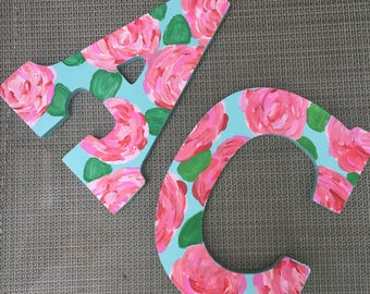 Custom Painted Monogram Letters Lilly Pulitzer Inspired 'First Impressions' Blue Print