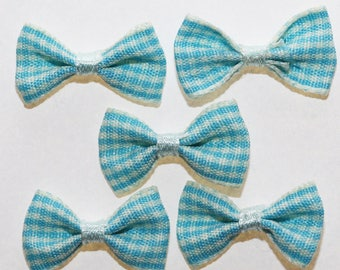 20 x gingham small Plaid ribbon bow: Turquoise - 2376