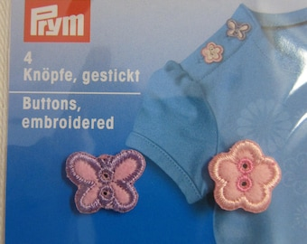 Embroidered buttons, 2 flowers and 2 butterflies pink