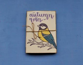 """Handmade notebook, writers journal, hand printed notebook """"Cinciallegra"""""""