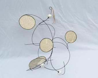 Mobile wire and paper off-white tones, pearly white ceramic beads