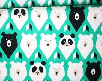 Tissu ours, panda, 100% coton imprimé 50 x 160 cm, ours polaire, panda ours brun sur fond turquoise