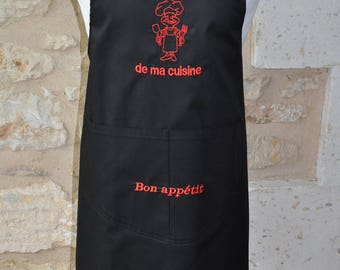 MAN apron out of my kitchen name embroidered