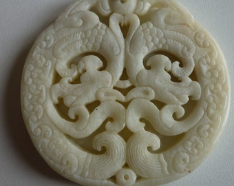 Asian dragons carved White Jade necklace