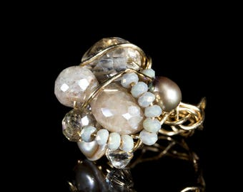 Moonstone,Freshwater pearl and Rosequarts Gold filled wire ring