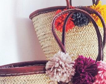 GABRIELLA- Large Straw Basket - Soft Leather Handles - Market Shopping Basket- Beach Bag-  Pom Pom- Bohemian Hippie