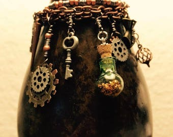 Steampunk Bracelet with Charms