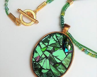Green Swarovski Golden scarab oval mosaic pendant necklace