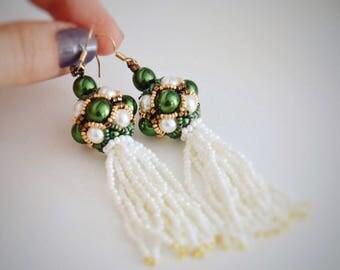 DANGLE EARRINGS Pearl modern metallics beads green emeralds in handmade jewelry earrings pearl jewelry