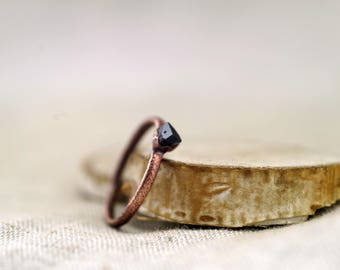 Black Tourmaline Ring, Raw Crystal ring, Electroformed copper ring, 4.75 US 15.5 DE, black stone ring