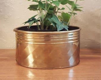 Small vintage brass oval planter.