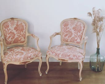 Pair of armchairs convertibles Louis XV - powder pink