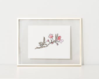 Cherry Blossom Print, Floral Wall Art Decor, Flower Print, Pink Poster, Nursery Print, Floral Modern Print, Abstract Watercolor, Digital