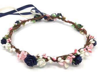 Blue flower crown, navy flower crown, wedding flower crown, flower girl crown, bohenian flower crown, blue flower headband, wedding crown