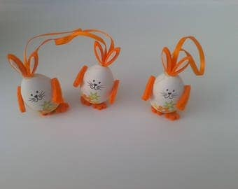 Set of 3 eggs hanging Easter Bunny decoration