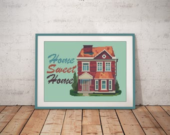 Home sweet home cross stitch pattern Housewarming gift for Housewarming friends gift for family gift Wall Decor easy xstitch pattern modern
