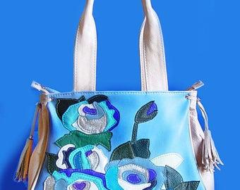 "Leather bag ""Blue roses"" bags with applique handmade buy hznd maid,painted wildflowers beige bag handmade women's handbagsbuy a gift"