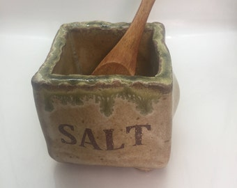 1.5 x 1.5 Salt box with wooden spoon