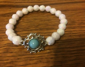 Turquoise charm with white crystal bracelet