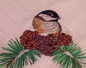 Chickadee Bird with Pine Flour Sack Towels