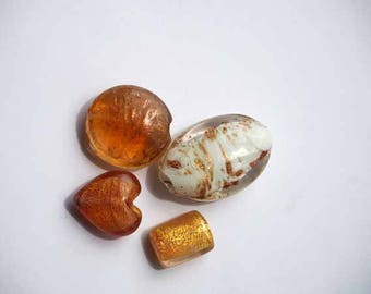 Set of 4 large glass, italian style, in shades of Orange and gold beads