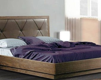 Modern double bed with leather design on the headboard (160cm x 200cm matress)