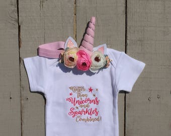Unicorn Baby, Baby Girl Clothes, Better than Unicorns and Sprinkles Combined, Embellished Unicorn Headband, Bodysuit, Baby Shower Gift