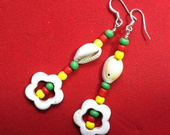 White magnesite open flower dangle earrings with red green yellow accents and seashell