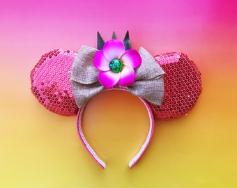 Moana Mickey Ears Disney Inspired Pink Sequin Minnie With Heart of Te Fiti