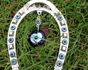 Large horseshoe blue evil eye wall hanging- Evil eye Wall decor- Horseshoe art- Horseshoe wall decor-  Turkish evil eye Wall hanging