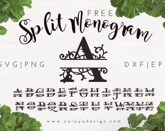 FREE SVG & PNG Link | Split Monogram Files, svg, png, dxf, eps | Commercial Use | circuit, cameo silhouette | Personalize Clipart