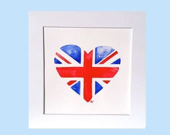 Union jack flag,original watercolour,heart flag,british flag, british flag, gift for him, red and blue, watercolour flag, flag artwork