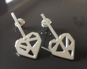 geometric silver heart earrings, silver pierced heart earrings, Sterling silver, love heart geometric designs