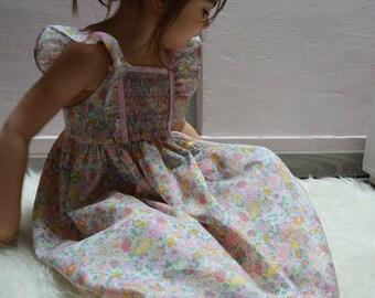Dress liberty elysian yellow and pink smocking